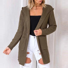 Load image into Gallery viewer, Back Bandage Casual Pocket Hooded Cardigan (4369636720780)