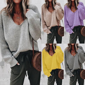 V Neck Loose Knitted Sweater Casual Long Sleeve (4369717002380)