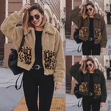 Load image into Gallery viewer, Solid Color Leopard Pocket Stitching Zipper Padded Jacket (4369628692620)