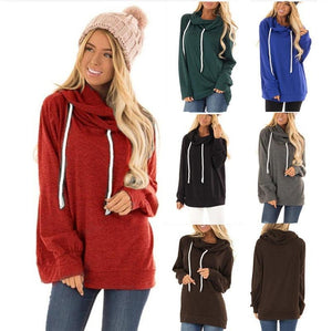 Women Solid Color Drawstring Hoodies (4369725128844)