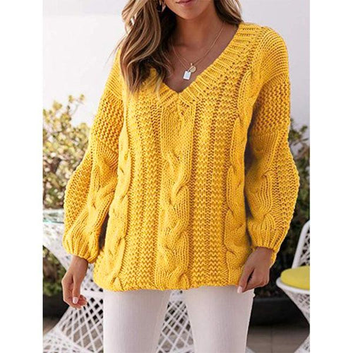 Women Round Neck Fashion Loose Sweater (4369646092428)