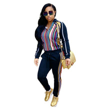 Load image into Gallery viewer, Striped Hooded Sweatshirt Pants Casual Sports Suit (4369742758028)