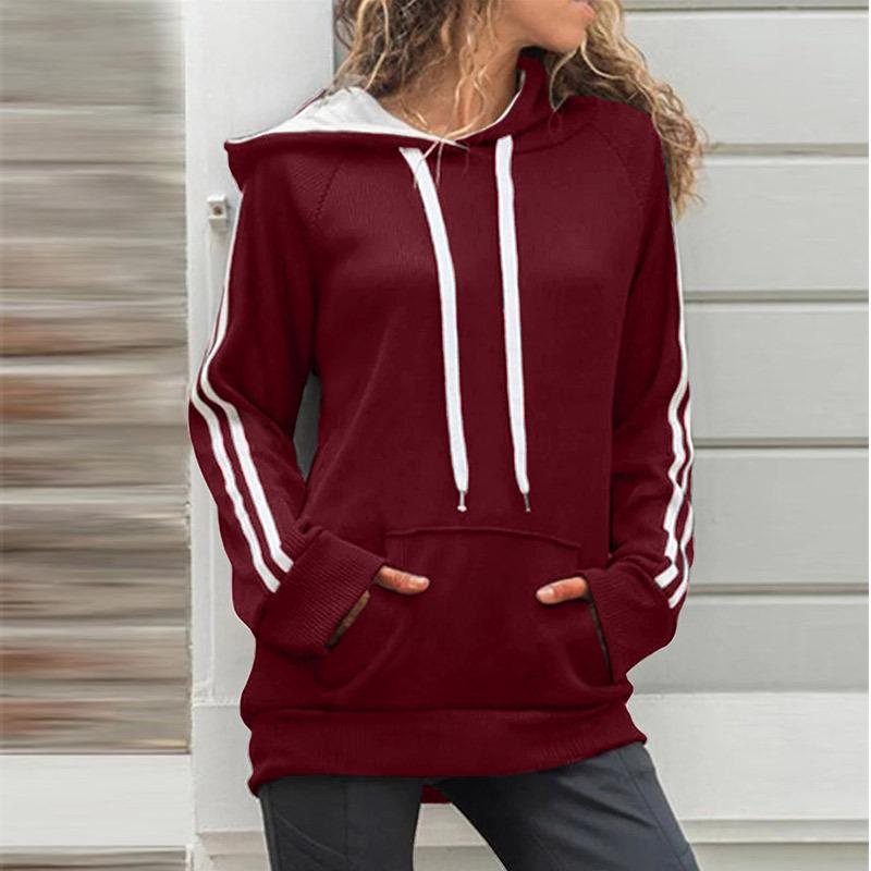 Autumn Winter Hooded Kangaroo Pocket Plain Hoodie (4369725096076)