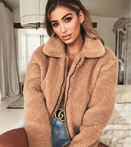 Fur Collar Soft Plush Women Jackets (4369630331020)