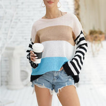 Load image into Gallery viewer, Women Loose Stripe Round Neck Sweater (4369711726732)