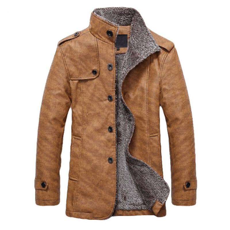 Men Winter Jackets PU Leather Motorcycle Fur Coat (4369912496268)