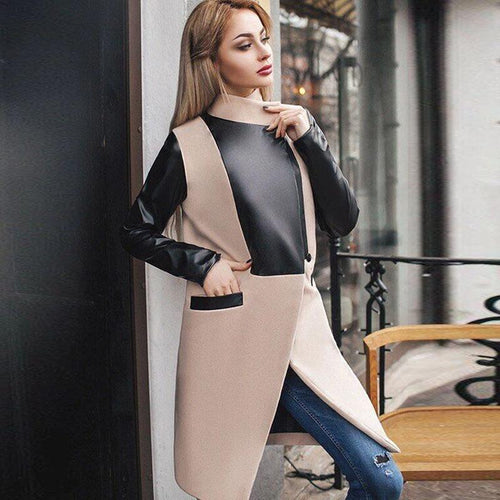 Women Fashion Patchwork Stand Collar Woolen Coat