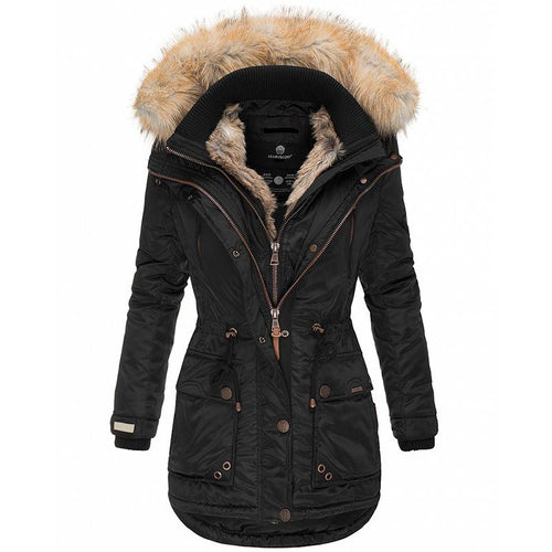 Women Slim Fit Down Coat & Fur Collar (4370002215052)
