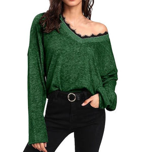 Loose V Neck Women Knitted Sweater Decorative Lace (4369716281484)