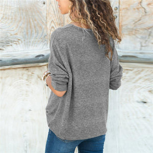 Women Autumn Sweaters Casual V-Neck Pullovers (4369716740236)