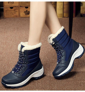 Women Plush Ankle Boots Round Toe (4369551130764)
