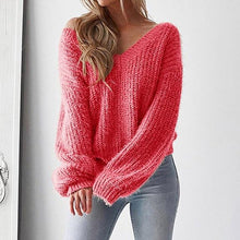 Load image into Gallery viewer, Knitted Loose Sweater Women Sexy V-Neck Pullover (4369716936844)
