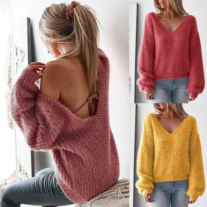Knitted Loose Sweater Women Sexy V-Neck Pullover (4369716936844)