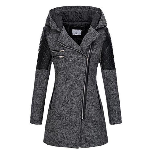 Winter Hooded Coat Patchwork Warm Windproof Overcoats (4370005917836)