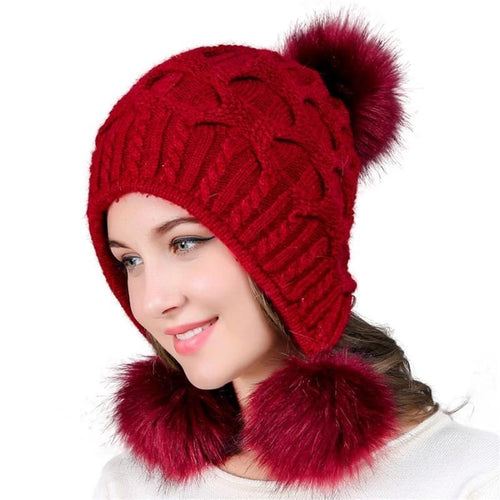 Women Fur Hats Winter Wool Beanies