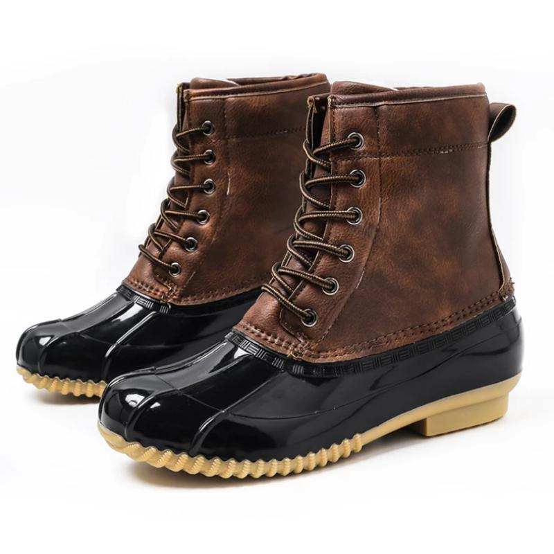 Women Rubber Sole Boots Waterproof Ankle Shoes (4369979637900)