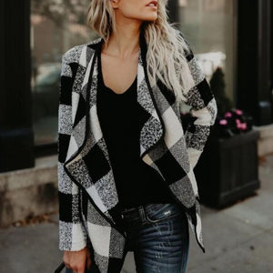 Fashion Stylish Lapel Ladies Plaid Coat (4370038456460)
