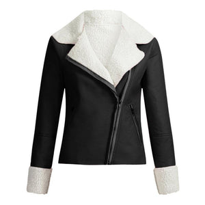 Women Lapel Suede Faux Leather Coat (4369626431628)