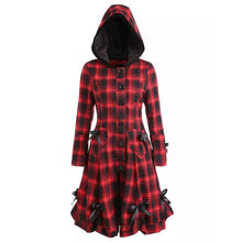 Load image into Gallery viewer, Vintage Red Plaid Long Women Hooded Coats (4370141839500)