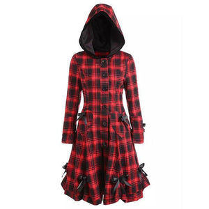 Vintage Red Plaid Long Women Hooded Coats (4370141839500)