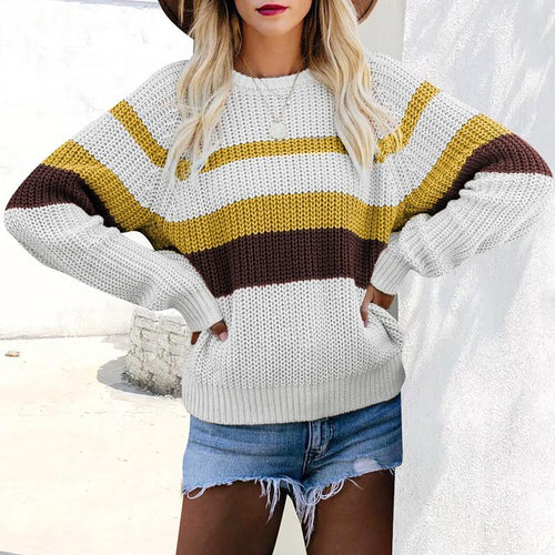 Women Round Neck Fashion Knitted Sweater (4369646321804)