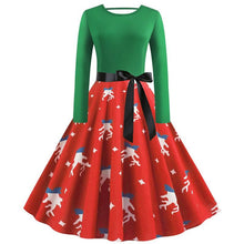 Load image into Gallery viewer, Print Long Sleeve Christmas Dress Plus Size S-5XL (4370152095884)