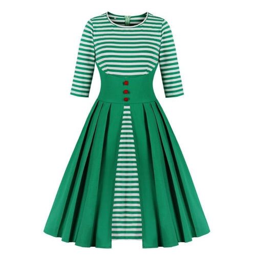 Vintage Stripe Patchwork Pleated Christmas Dress (4370152521868)