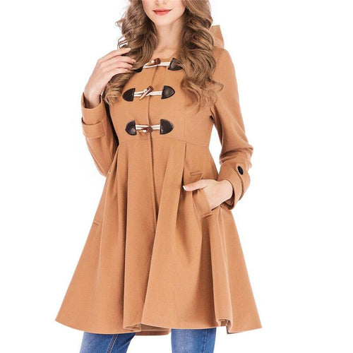 Fashion Winter Warm Short Button Hooded Coat