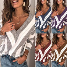 Load image into Gallery viewer, Fashion V Neck Stripe Knitted Pullover (4369648156812)
