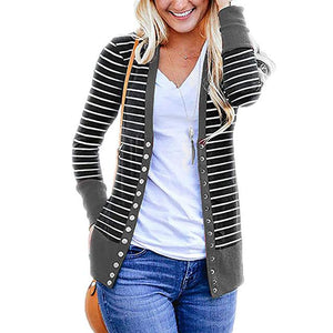 Women Striped Button Knitted Cardigan (4369635475596)