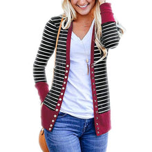 Load image into Gallery viewer, Women Striped Button Knitted Cardigan (4369635475596)