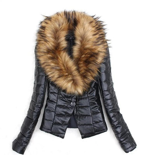 Winter PU Faux Fur Coat Casual Outerwear (4370006212748)