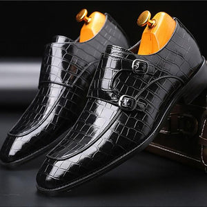 Pointed Toe Men Shoes Classic Crocodile (4369982816396)
