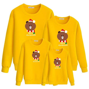 Merry Christmas Bear Printed Family Outfits (4369729159308)