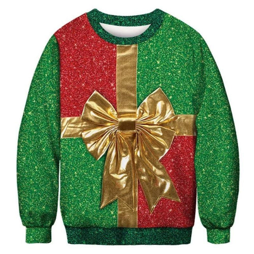 3D Christmas Gift Patterned Sweatershirt Tops (4370154324108)