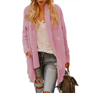 Casual Long Sleeve Knitwear Cardigan Plus Size (4369636982924)