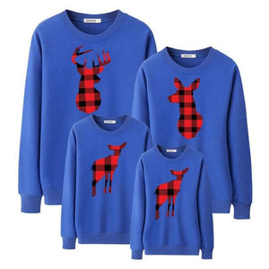 Family Matching Outfits Sweatershirt Moose Printed (4369726439564)
