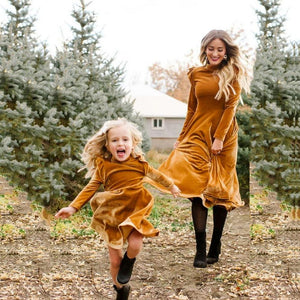 Mother Daughter Long Sleeve Velvet Matching Dress (4370149146764)