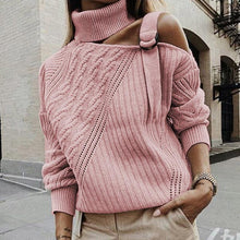 Load image into Gallery viewer, Women Off Shoulder Patchwork Turtleneck Sweater (4369645273228)