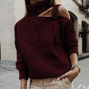 Women Off Shoulder Patchwork Turtleneck Sweater (4369645273228)