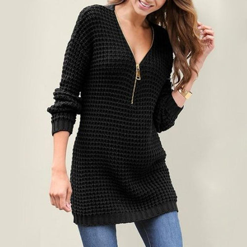 Women Sexy Zipper V-Neck Sweater Dress (4369646780556)