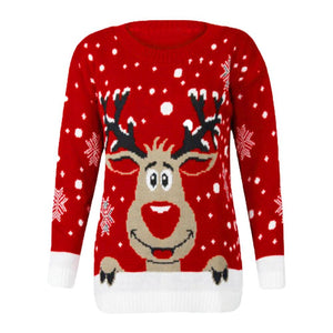 Deer Patterned Ugly Christmas Sweater (4370145116300)