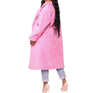 Pink Long Teddy Jacket Coat Oversize Chunky Outerwear (4370037014668)