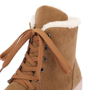 Fashion Lace Up Plush Ankle Boots Round Toe (4369977868428)