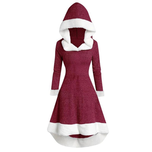 Christmas Fashion Patchwork Hooded Dress (4370152194188)