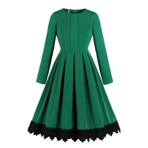 Long Sleeves Pleated Vintage Dress Solid Green (4370152882316)