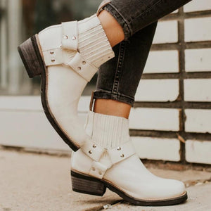 Winter Ankle Boots Vintage Pu Leather Mid Heels Shoes (4369959026828)