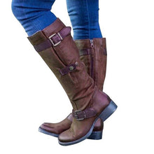 Load image into Gallery viewer, Women Mid-calf Boots PU Leather Round Toe (4369960468620)