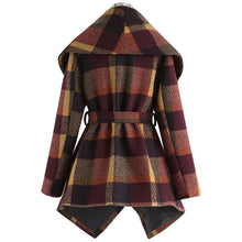Load image into Gallery viewer, Winter Asymmetrical Plaid Wool Blend Coat (4370021220492)