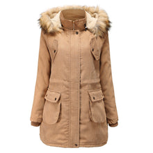Load image into Gallery viewer, Women Solid Winter Zipper Hooded Overcoat (4370142658700)